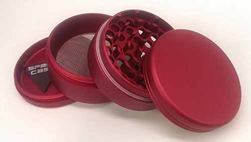 Space Case Large 4 Piece Matte Red Grinder with a Cali Crusher Pollen Press (Space Case 4 Piece Large compare prices)