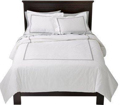 fieldcrest luxury hotel duvet cover and sham set white grey color queen size - Fieldcrest Bedding