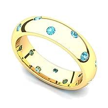 buy 14K Yellow Gold Bezel Set Topaz Semi Eternity Band Ring, 7.5
