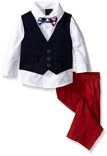 Nautica Baby Woven Pique Vest Set with Bow Tie, White, 3-6 Months