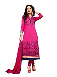 Suchi Fashion Pink Embroidered Cotton Dress Material