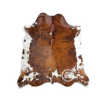 Brindle Tricolor Cowhide Rug XL APPROX 6ft x 8ft 180cm x 240cm - Top Quality from LUXURY COWHIDES