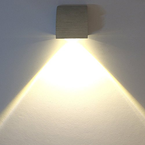 Deckey Lampada Da Parete Applique Led 3W Luce In Alluminio Illuminazione Decorativo Da Muro Corridoio Disegno Moderno (Bianco Caldo)