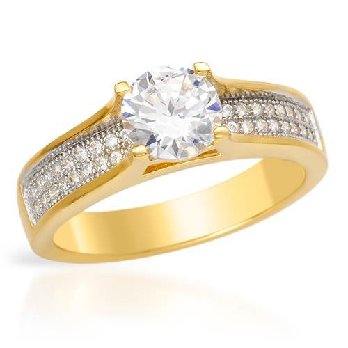 Gold Plated Silver 2.38 CTW Cubic Zirconias Solitaire Plus Ladies Ring. Ring Size 7. Total Item weight 4.1 g.