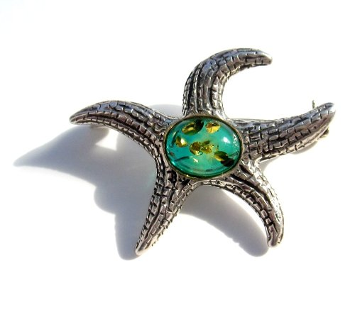 Baltic Blue Amber Sterling Silver Museum Collection Star Fish Pin 19th Century