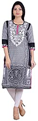 Geroo Women's Cotton Regular Fit Kurta (MKK-15115AZ, Black, XXL)