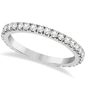Round Pave Diamond Eternity Wedding Band for Women 14K White Gold Diamond Ring 0.58cw