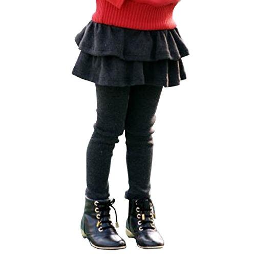 Tkria Ragazzine Mini doppie Gonna Leggings Collant in cotone elasticizzato 2-8 anni