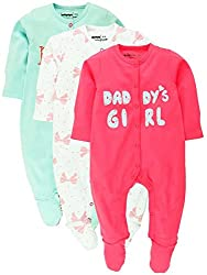 Sleepsuit With Attached Mitten And Botties Pack Of 3 , White, Pink & Blue (Newborn)