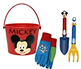 Midwest Gloves and Gear MY13P07-EA-AZ-6 Mickey Mouse Jersey Glove, Bucket, Trowel and Cultivator Gardening Set