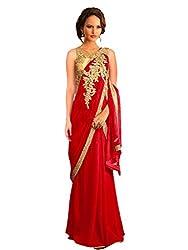 Suchi Women's Georgette Gown (SFOOR30027 _Medium_Red and Gold)