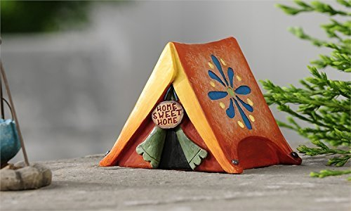 Miniature Fairy Garden Lakeside Tent with Flower Accent and Home Sweet Home Sign by Giftcraft