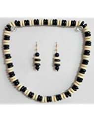 Black And White Bead Necklace And Earrings - Beads