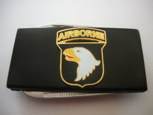 101St Airborne Division Black Stainless Steel Money Clip With Knife & Nailfile In Body Of Clip