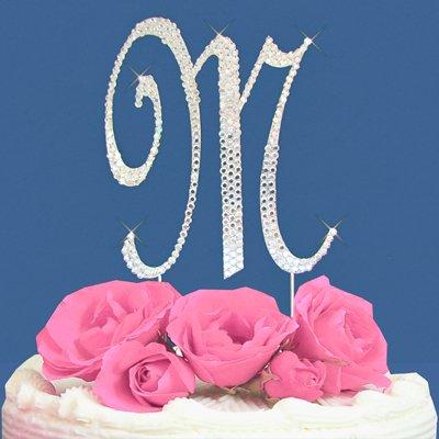 Fully Covered in Crystal Monogram Wedding Cake Topper Letter - Letter M