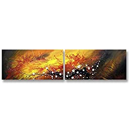 Neron Art - Handpainted Abstract Oil Painting on Gallery Wrapped Canvas Group of 2 pieces - Lucknow 32X8 inches