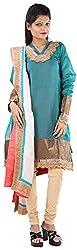 JYOTI Women's Kora Silk Unstiched salwar Suit (JBAM-41, Rama Green)