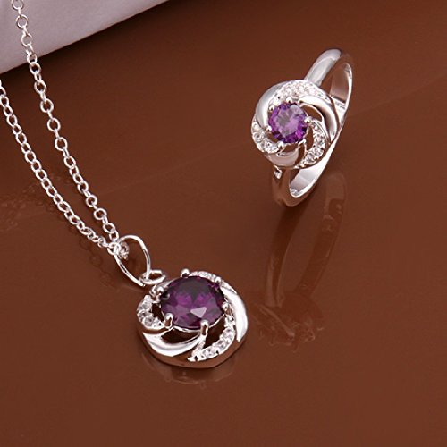 Cy-Buity Elegant Twisted Flower Purple Zircon Pendant Neckalce Ring 925 Silver Plated Jewelry Set Nice Gift For Girls