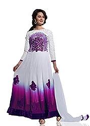 Orange Fab Purple Georgette Semi stitched Anarkali Suit Dress Material