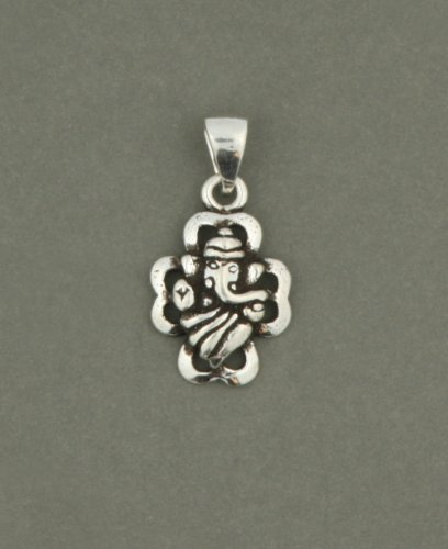 Semi-Abstract Sterling Silver Ganesh Pendant