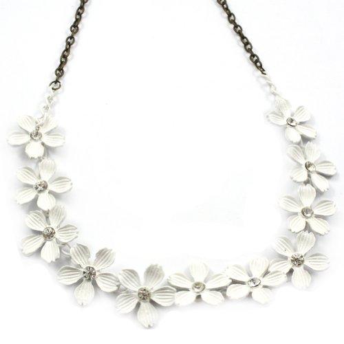 Zehui Crystal Rhinestone White Metal Petal Flower Camellia Necklace