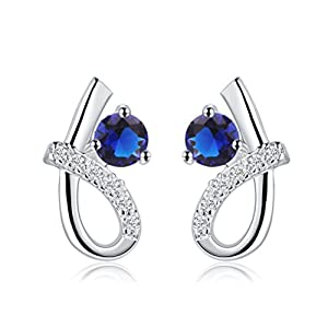 SunIfSnow Women Fashion Sapphire Six-Like Round Earringsblue