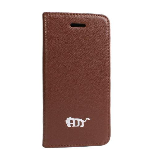 Best Price Pdncase Genuine Leather Cover Book Type Lychee Pattern Compatible for iPhone 5S Color Brown