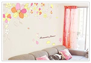 YYone Romantic Flower Quote Yellow Red Flowers Blooming Wall Sticker Living Room Wall Decor by YYone