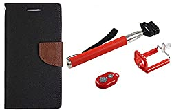 Novo Style Wallet Case Cover For MotorolaMoto E Black + Selfie Stick with Adjustable Phone Holder and Bluetooth Wireless Remote Shutter