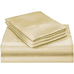 ELEGANTE Collection Pure Silky 4pc Bed Sheet Set - Queen Size, Beige