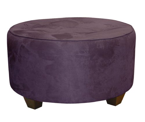 Clybourn Round Tufted Cocktail Ottoman by Skyline Furniture in Purple Micro-suede
