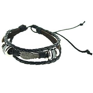 Bracelet noir en cuir et acier inox avec aile d'ange - bijoux hommes par Opouriao