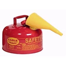 "Eagle UI-20-FS Red Galvanized Steel Type 1 Gasoline Safety Can with Funnel, 2 gallon Capacity, 9.5"" Height, 11.25"" Diameter"