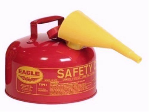 Eagle UI-20-FS Red Galvanized Steel Type 1 Gasoline Safety Can with Funnel, 2 gallon Capacity, 9.5