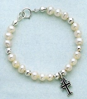 Cultured Pearl Sterling Silver Bracelet, 5 in long, Baby-Size, Box/Ribbon