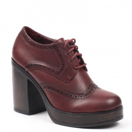 Ideal Shoes - Richelieu con tacco spessa kaely, rosso (rosso), 39