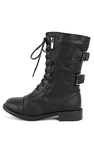 Top Moda Women'S Pack-72 Lace Up Combat Boot,8 B(M) Us,Premium Black Pu