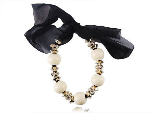 Classic Black Chiffon Gold Tone Crystal Rhinestone Bead Ribbon Necklace Choker