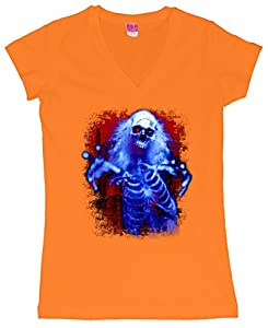 Sinister Skeleton Ghost Juniors V-Neck T-Shirt Orange Medium