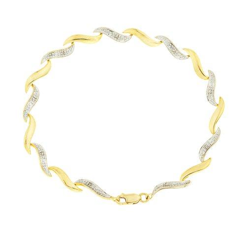 9ct Yellow Gold Diamond Set Wave Bracelet