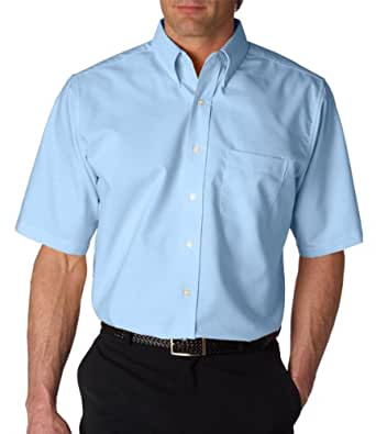 Ultraclub men 39 s tall classic wrinkle free short sleeve for Wrinkle free dress shirts amazon