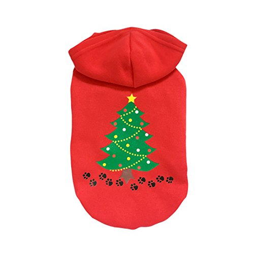 Red Christmas Tree Printed Pet Dog Clothes Costumes Clothing Pet Apparel (L) (Doctor Dog Costume)