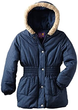 Pink Platinum Girls Toddlers Opaque Printed Hooded Puffer Jacket - Navy (Size 2T)