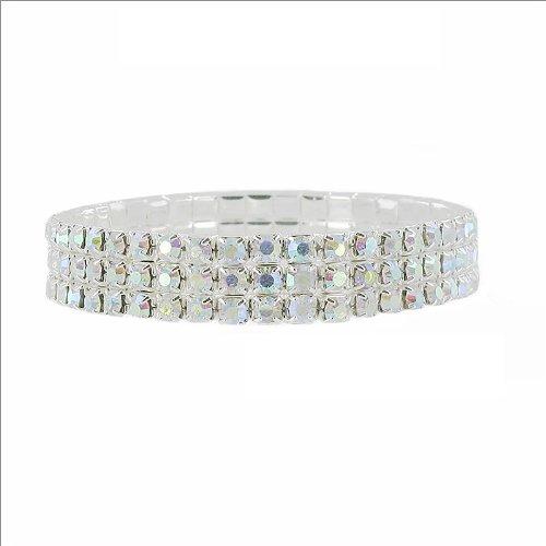 JOA Three Line Rhinestone Stretch Bracelet #034047
