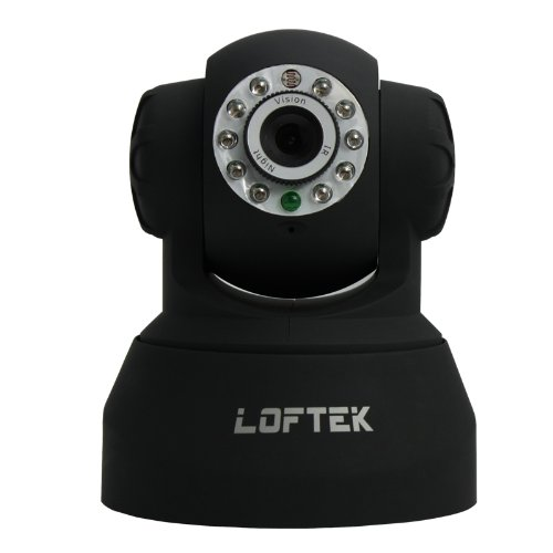 High Quality Loftek Genuine Wireless/wired Frosting Ip Camera Pan&tilt with Night/day Vision and Dual Way Audio,compatible with Windows,mac and Iphone,black
