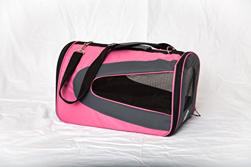 Pet carrier, soft sided, airline approved, large carrier, for small pets, holds up to 15 pounds, travel, crate, kennel, bag, puppy, small dog, cat, blue or pink. FREE petcare e-Book with purchase. 18″x10″x10.5″. 60-day money back guarantee.