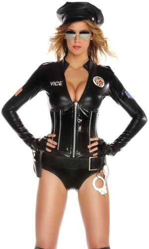 Forplay Mrs. Officer Romper, Glasses, Handcuffs, Gloves, Black, X-Small/Small