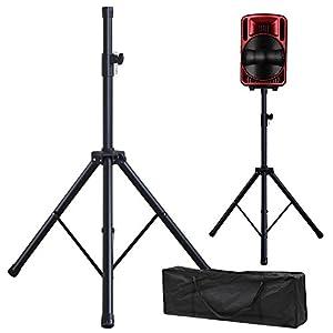 Yaheetech Black Adjustable Tripod Speaker Stand + Carry Bag