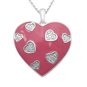 "Sterling Silver Diamond Pink Enamel Multi-Heart Pendant Necklace (0.07 cttw, I-J Color, I3 Clarity), 18"""