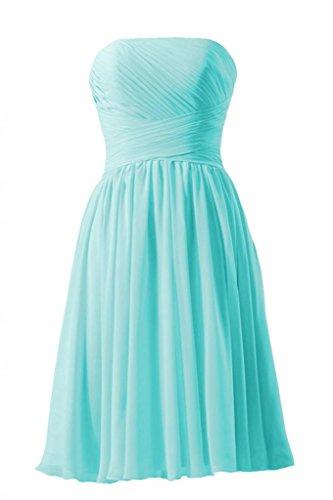 Daisyformals Short Strapless Chiffon Bridesmaid Dress(Bm132)- Tiffany Blue